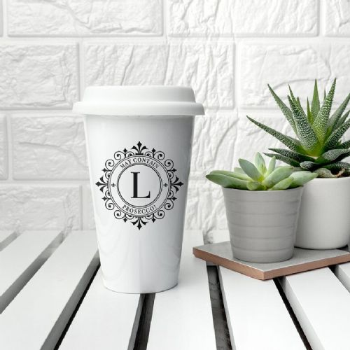 Monogrammed Ceramic Travel Cup